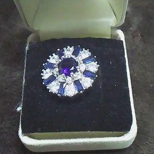 New--Genuine Blue  & White Topaz Ring!